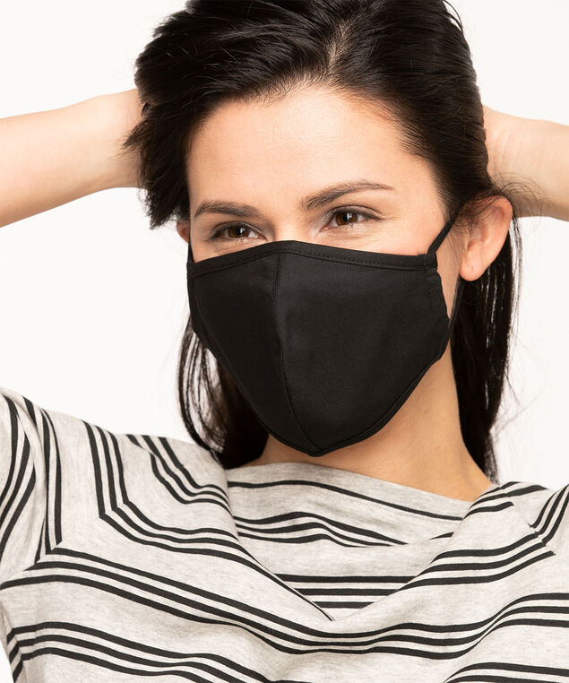 Black Cotton Face Mask Set, Black