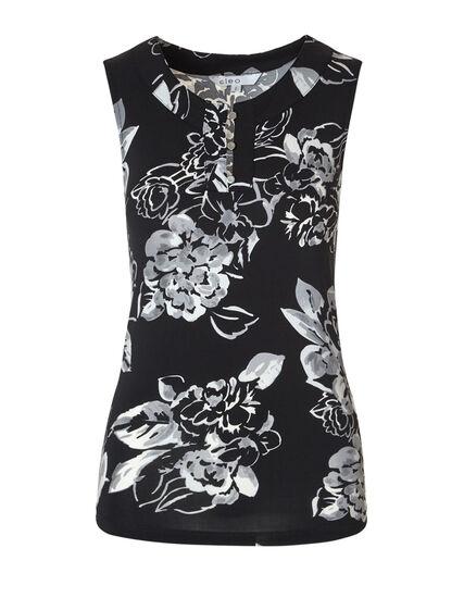 Black Floral Printed Sleeveless Top, Black/Grey, hi-res