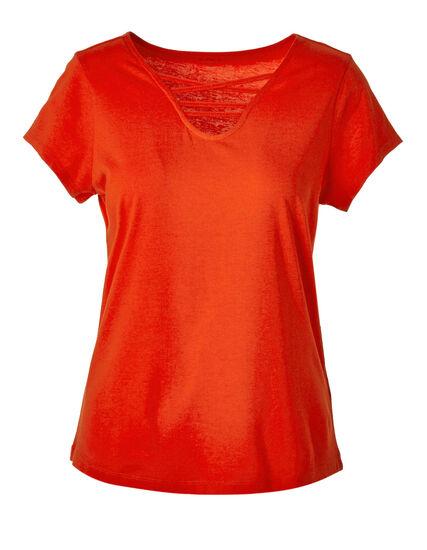Orange Criss-Cross Tee, Orange, hi-res