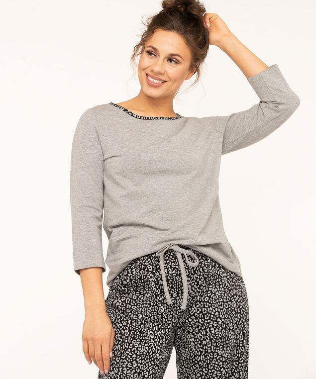 Grey Animal Print Pajama Set, Grey/Black, hi-res