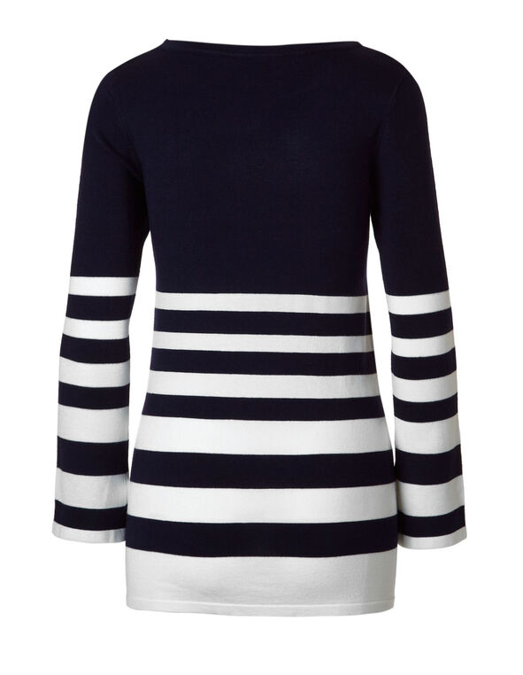 Navy Striped Sweater, Navy/Ivory, hi-res