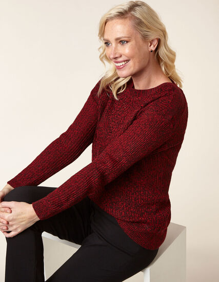 Ruby Mix Drop Sleeve Sweater, Red, hi-res