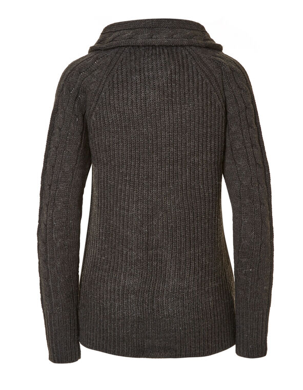 Charcoal Cable Knit Sweater, Charcoal, hi-res