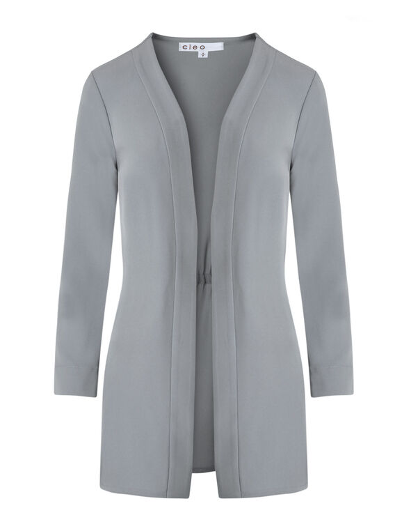 Light Grey Draped Blazer, Light Grey, hi-res