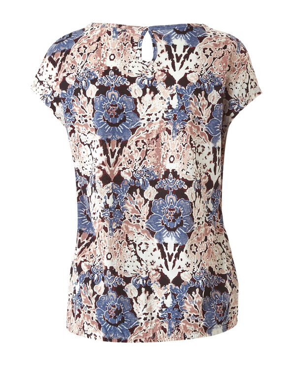 Floral Print Bubble Hem Tee, Blue, hi-res