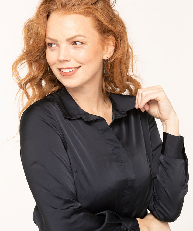 Navy Satin Finish Collared Blouse, Navy, hi-res