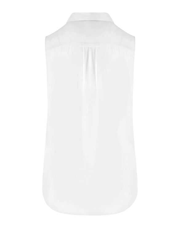 White Button Front Sleeveless Blouse, White, hi-res