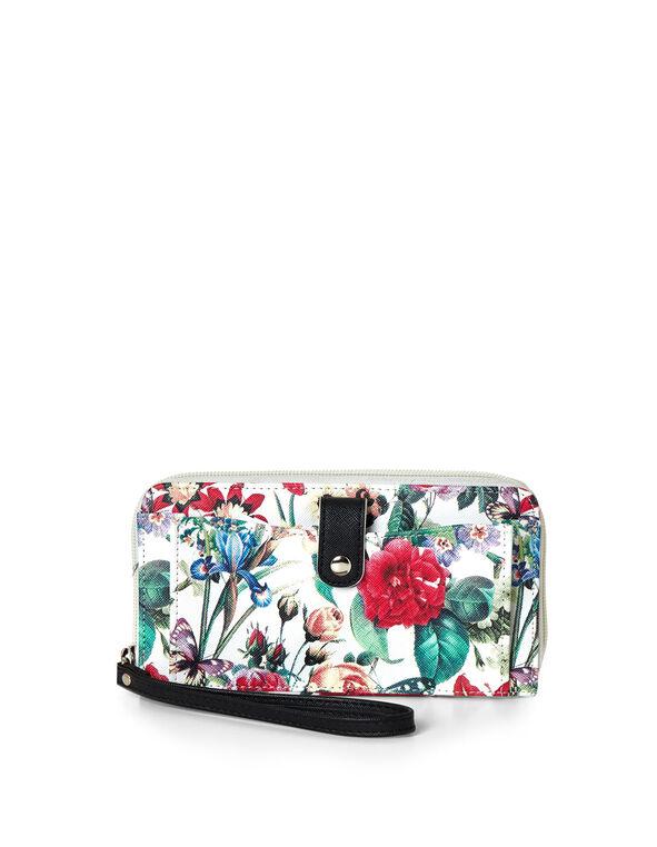 Floral Wallet, White, hi-res
