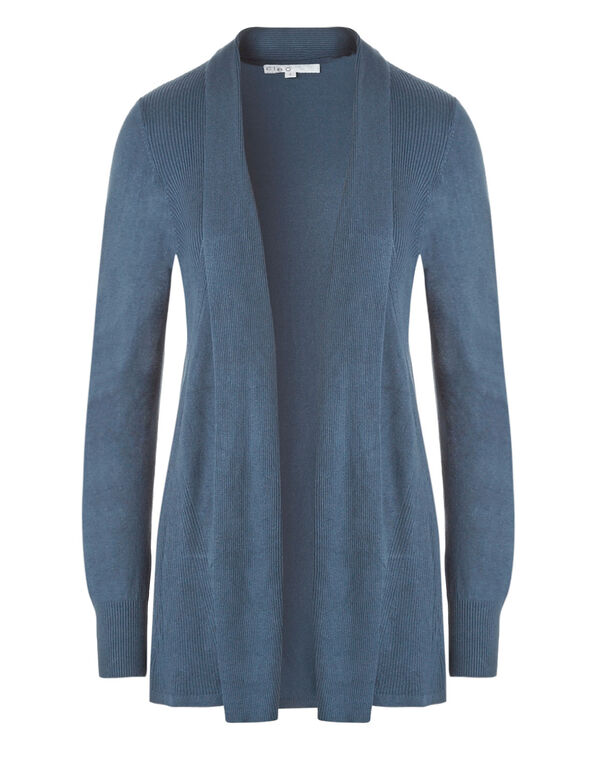 Blue Mid Length Cardigan , Blue, hi-res