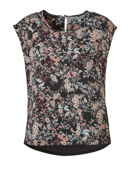 Pink Floral Woven Front Top, Black, hi-res