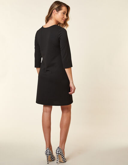 Black Zip A-Line Knit Dress, Black, hi-res