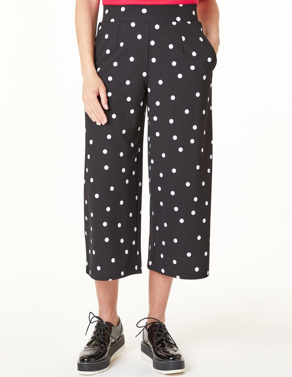 Polka Dot Wide Crop Pant, Black/White, hi-res