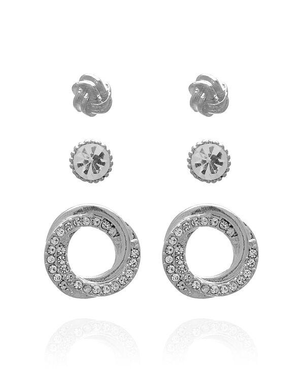 Silver Crystal Earring Trio, Silver