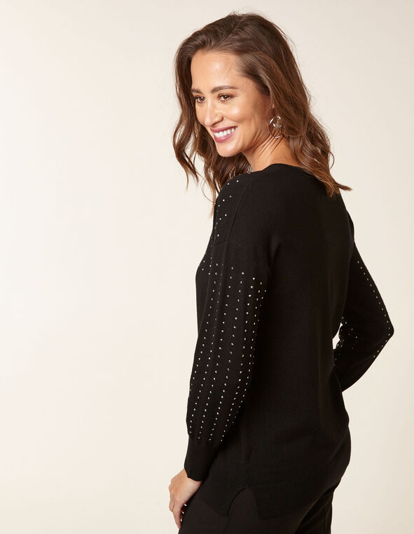 Black Stud Detail Sweater, Black, hi-res
