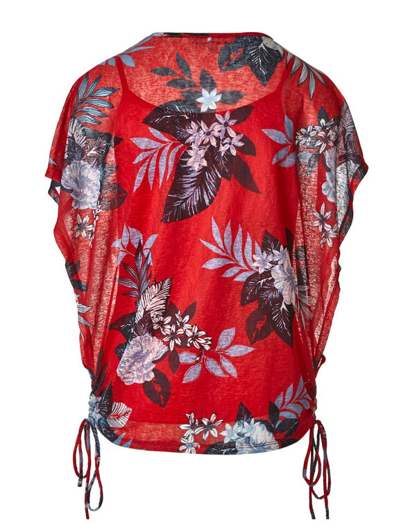 Red Floral Wide Sleeve Top, Red, hi-res