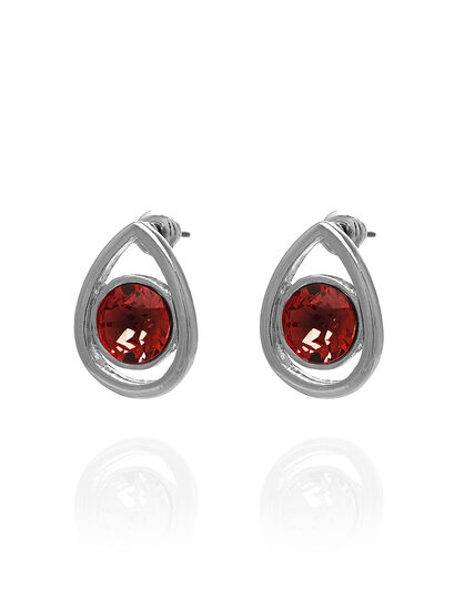 Genuine Crystal Red Pear Earring, Red/Silver, hi-res