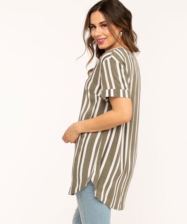 Y-Neck Tunic Top, Green/White/Pink Stripe