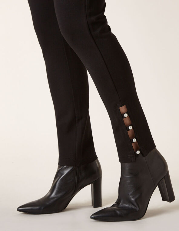 Black Pearl Detail Legging, Black, hi-res