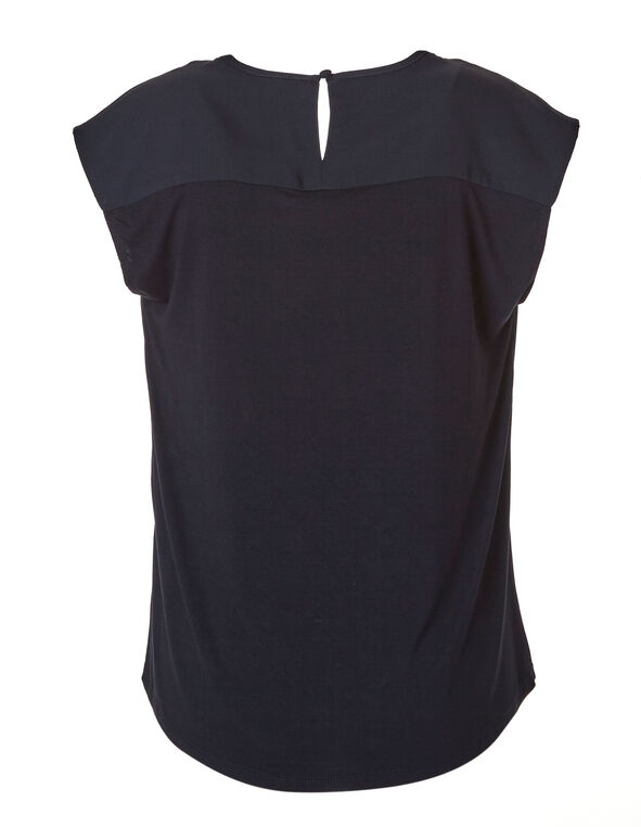 Navy Woven Front Top, Navy, hi-res