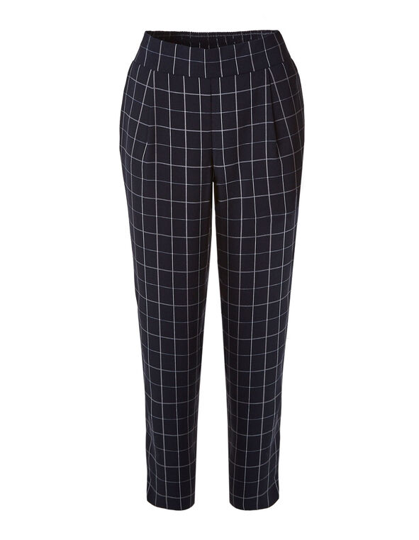 Navy Checkered Soft Ankle Pant, Navy, hi-res