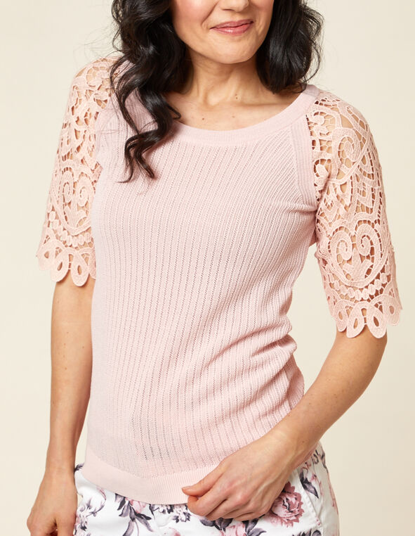 Carnation Pink Crochet Sweater, Pink/Carnation, hi-res