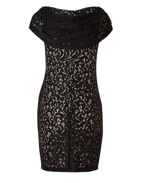 Black Lace Sheath Dress, Black, hi-res