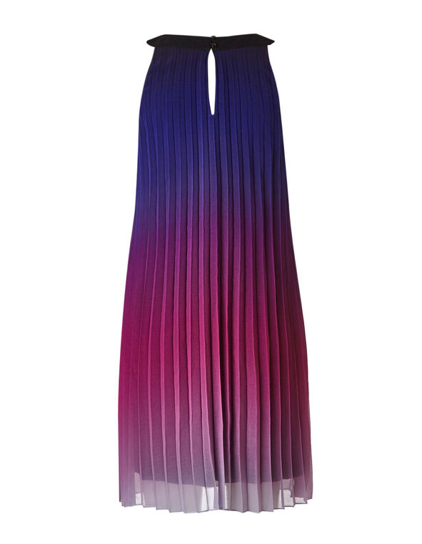 Purple Ombre Pleated Shift Dress, Purple, hi-res
