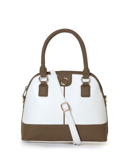 Sand Snake Trim Dome Handbag, White/Sand, hi-res
