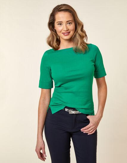 Emerald Boatneck Tee, Green/Emerald, hi-res