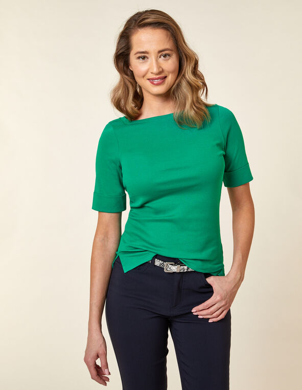 Emerald Boatneck Tee, Green/Emerald, hi-res