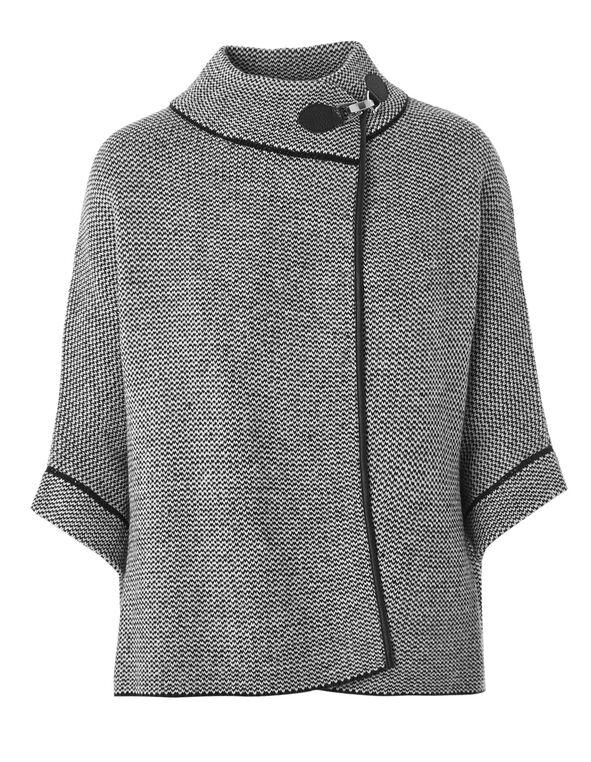 Black Patterned Sweater Coat, Black/White, hi-res