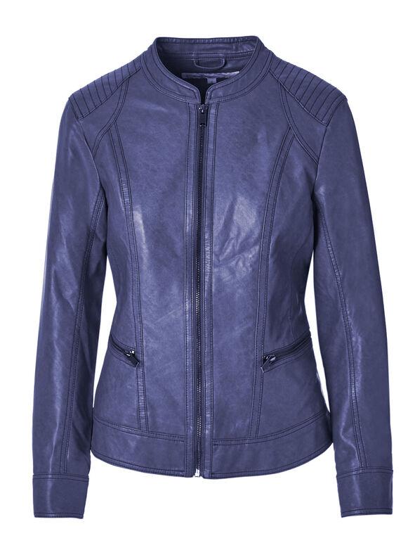 Ink Blue Faux Leather Jacket, Ink Blue, hi-res