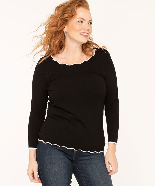 Scallop Edge Pullover Sweater, Black, hi-res