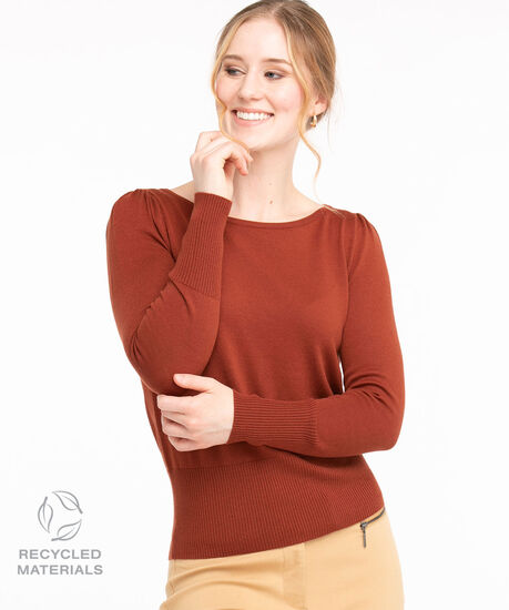 Recycled Boat Neck Pullover Sweater, Rust, hi-res