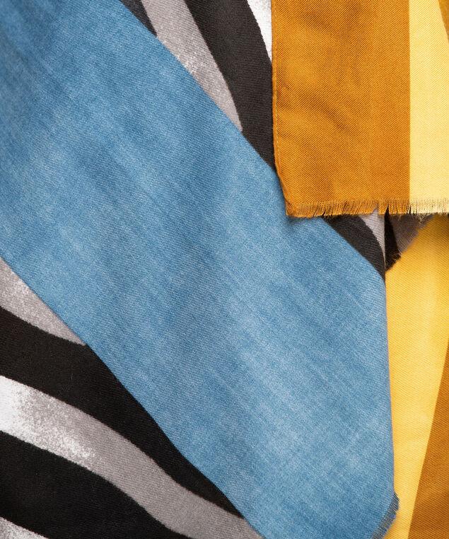 Zebra Print Colour Block Scarf, Black/Gold/Teal