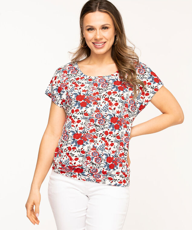 Scoop Neck Extended Sleeve Top, White/Red Floral