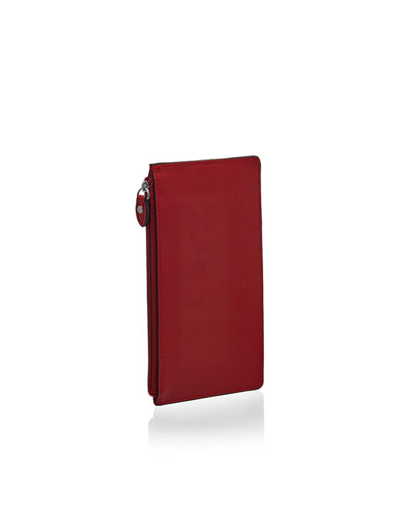 Red Exterior Card Holder Wallet, Red, hi-res