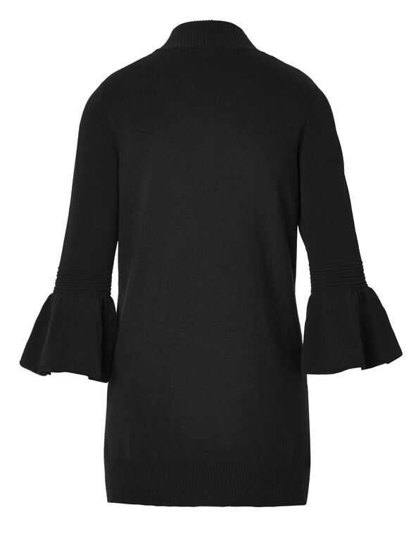 Black Bell Sleeve Mid Cardigan, Black, hi-res