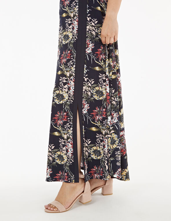 Navy Floral Print Maxi Dress, Navy, hi-res