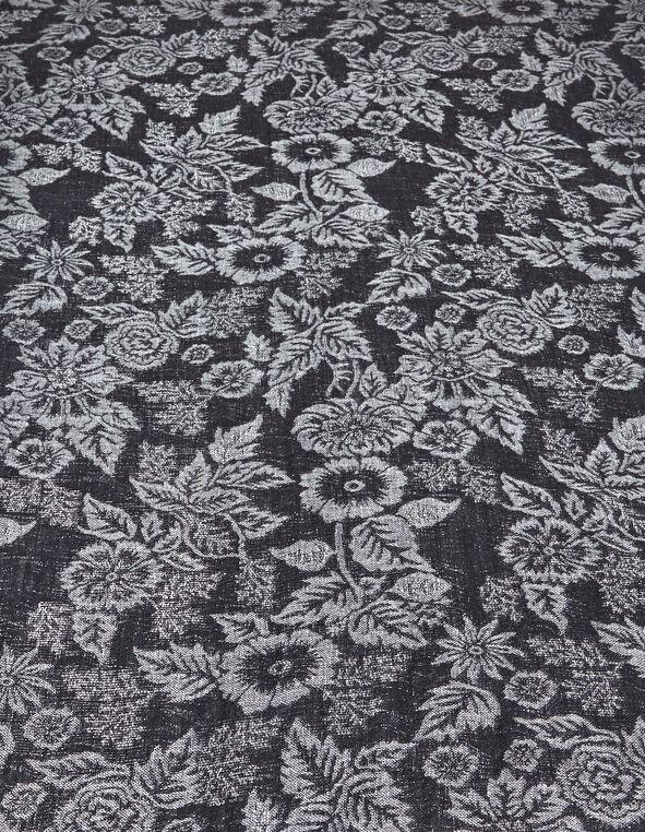 Black Floral Lurex Pashmina Scarf, Black, hi-res