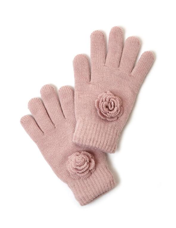 Blush Flower Detail Knit Glove, Pink, hi-res