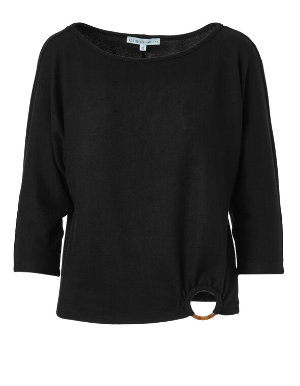 Black Wool-Blend Top, Black, hi-res