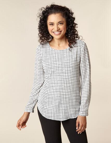 White Grid Roll Sleeve Blouse, White/Black, hi-res