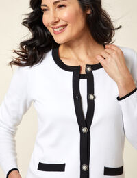 White Contrast Button Cardigan