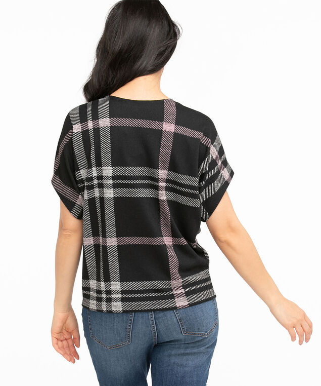 Recycled Scoop Neck Hacchi Top, Grey/Dusty Purple Plaid