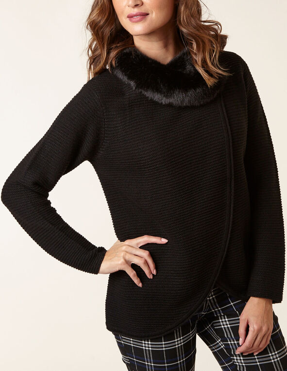 Black Faux Fur Collar Sweater Coat, Black, hi-res