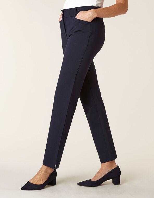 Navy Knit Slim Leg Pant, Navy, hi-res