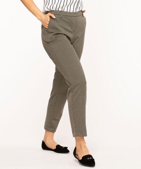 Jacquard Pull On Slim Ankle Pant, Black/Tan Pattern, hi-res