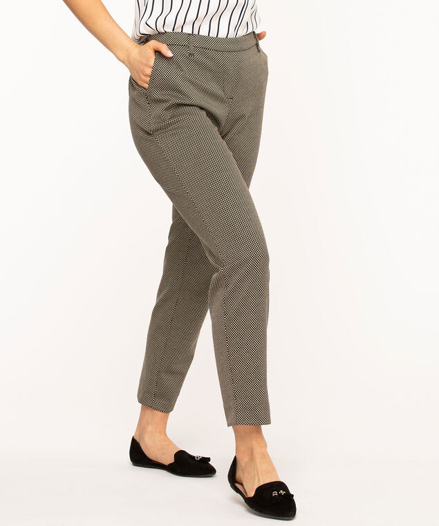 Jacquard Pull On Slim Ankle Pant, Black/Tan Pattern