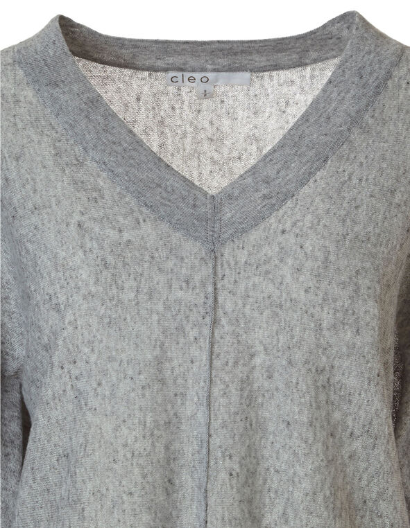 Gray Dolman Sleeve Sweater, Grey, hi-res